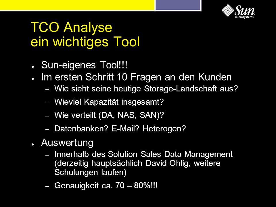 TCO Analyse ein wichtiges Tool Sun-eigenes Tool!!! Im ersten Schritt 10 Fragen an den Kunden – Wie sieht seine heutige Storage-Landschaft aus? – Wievi