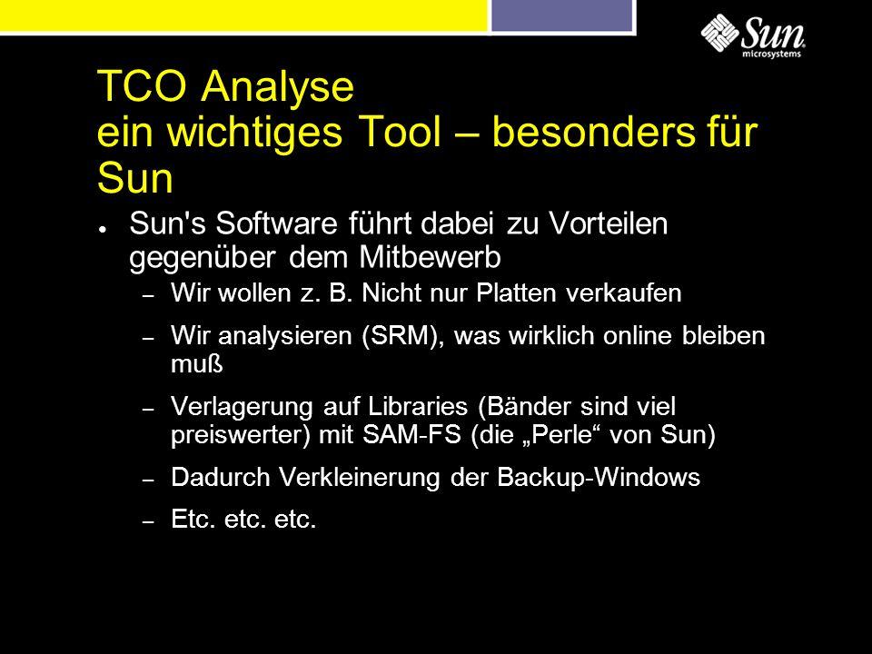 TCO Analyse ein wichtiges Tool – besonders für Sun Sun's Software führt dabei zu Vorteilen gegenüber dem Mitbewerb – Wir wollen z. B. Nicht nur Platte