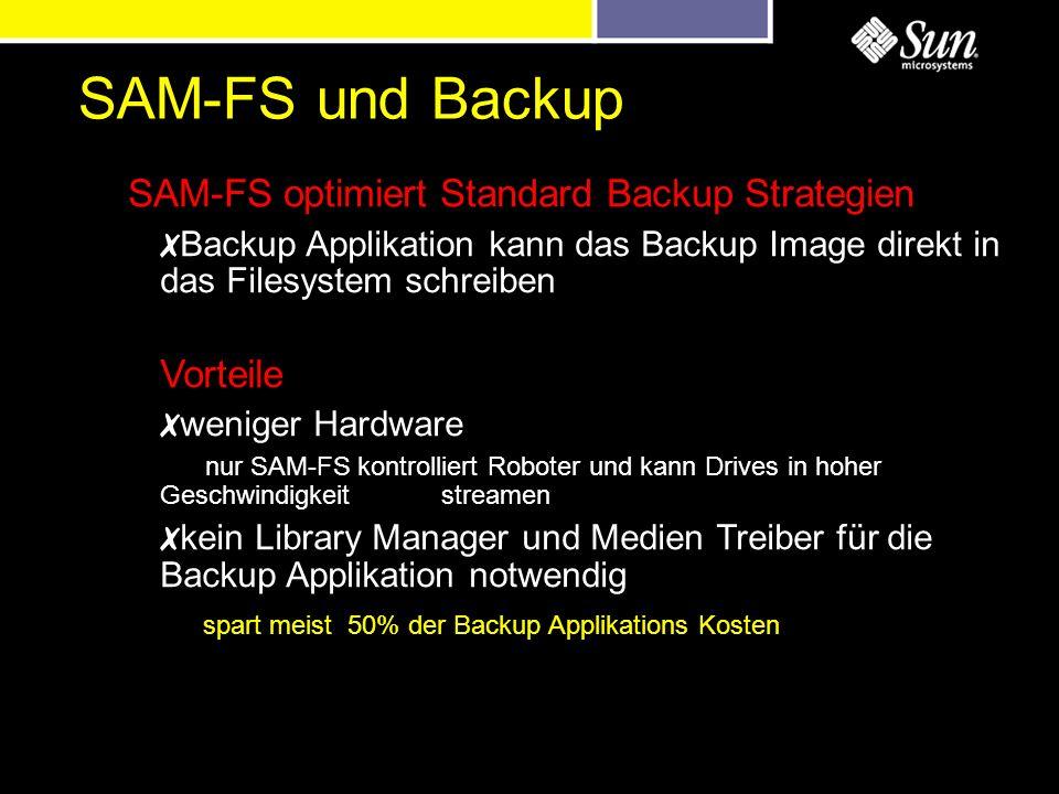 SAM-FS und Backup Backup Applikation kann das Backup Image direkt in das Filesystem schreiben Vorteile weniger Hardware nur SAM-FS kontrolliert Robote