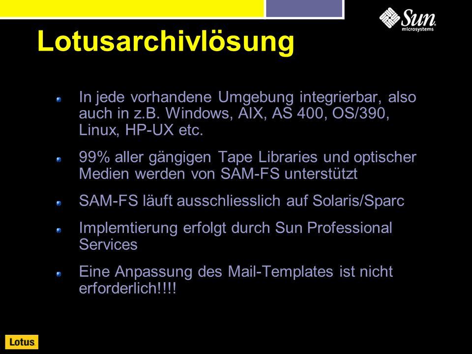 In jede vorhandene Umgebung integrierbar, also auch in z.B. Windows, AIX, AS 400, OS/390, Linux, HP-UX etc. 99% aller gängigen Tape Libraries und opti