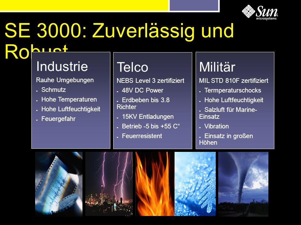 SE 3000: Zuverlässig und Robust Industrie Rauhe Umgebungen Schmutz Hohe Temperaturen Hohe Luftfeuchtigkeit Feuergefahr Telco NEBS Level 3 zertifiziert