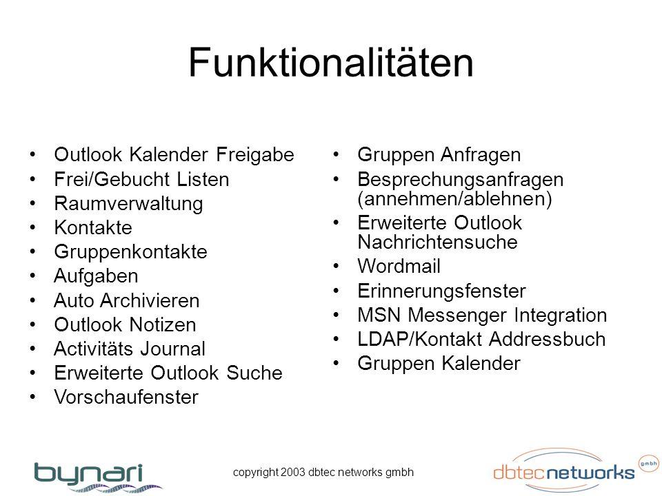 copyright 2003 dbtec networks gmbh Funktionalitäten Outlook Kalender Freigabe Frei/Gebucht Listen Raumverwaltung Kontakte Gruppenkontakte Aufgaben Aut