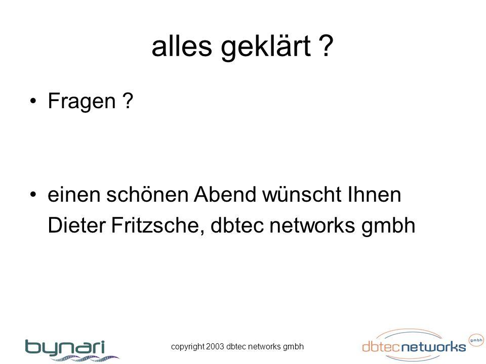 copyright 2003 dbtec networks gmbh alles geklärt ? Fragen ? einen schönen Abend wünscht Ihnen Dieter Fritzsche, dbtec networks gmbh