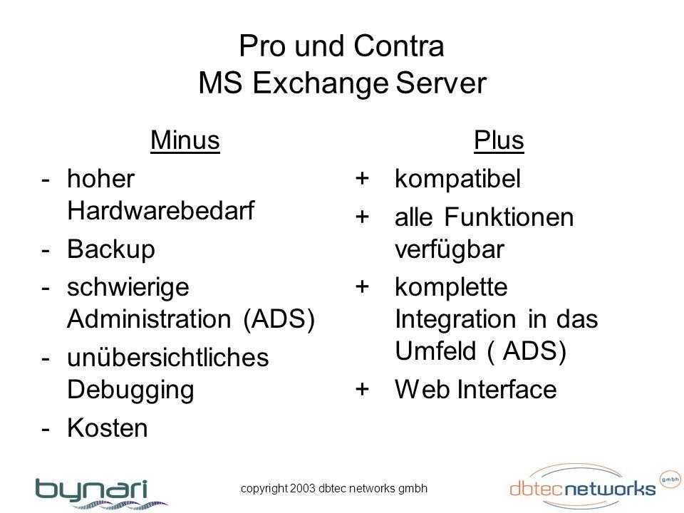 copyright 2003 dbtec networks gmbh Pro und Contra MS Exchange Server Minus -hoher Hardwarebedarf -Backup -schwierige Administration (ADS) -unübersicht