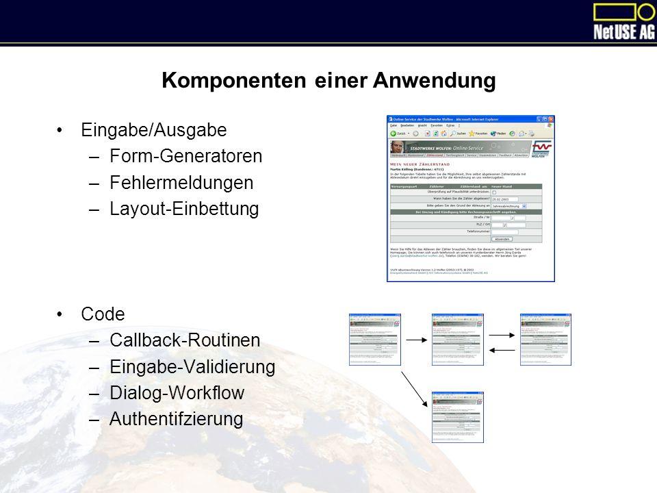 Komponenten einer Anwendung Eingabe/Ausgabe –Form-Generatoren –Fehlermeldungen –Layout-Einbettung Code –Callback-Routinen –Eingabe-Validierung –Dialog-Workflow –Authentifzierung