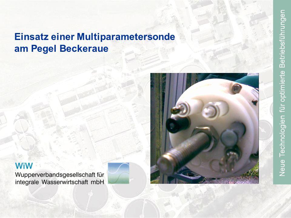 Neue Technologien für optimierte Betriebsführungen Onlinemessung am Pegel Beckeraue Einbau einer Multiparametersonde im Morsbach km 2+350 Betrieb der Sonde seit Juni 2006 Parameter: Ammonium, pH, Temperatur, LF, Wasserstand Ammoniumwerte erst ab September 2007 Austausch eines defekten Sensors