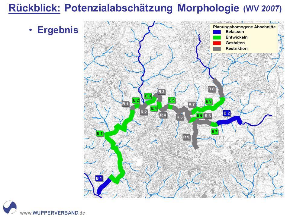 www.WUPPERVERBAND.de Rückblick: Potenzialabschätzung Morphologie (WV 2007) Ergebnis
