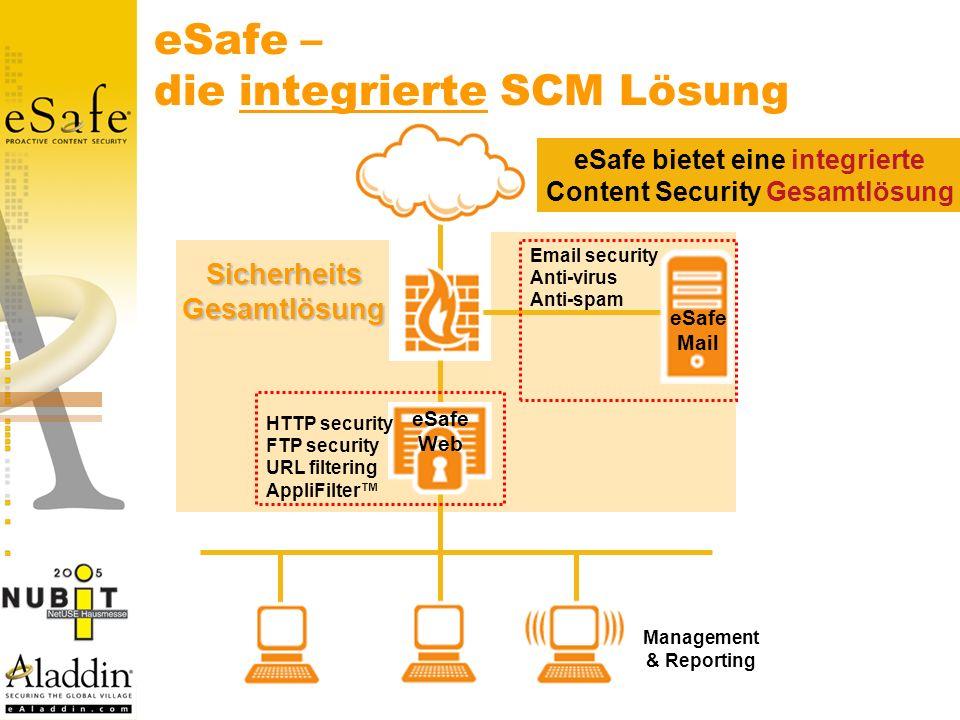 eSafe – die integrierte SCM Lösung eSafe Mail eSafe Web Email security Anti-virus Anti-spam Management & Reporting SicherheitsGesamtlösung HTTP security FTP security URL filtering AppliFilter eSafe bietet eine integrierte Content Security Gesamtlösung