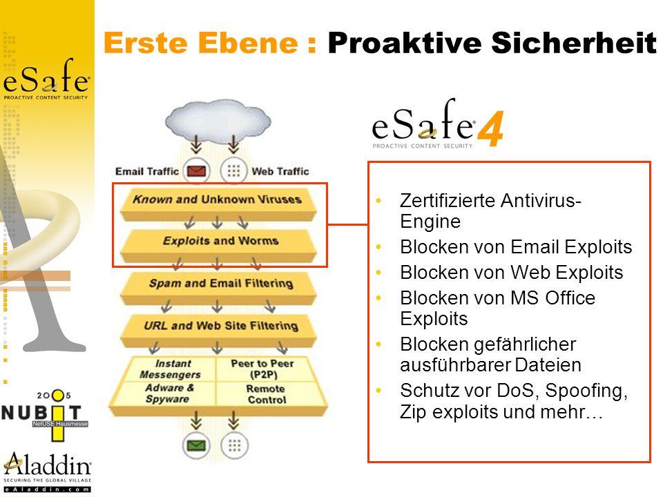 Erste Ebene : Proaktive Sicherheit Zertifizierte Antivirus- Engine Blocken von Email Exploits Blocken von Web Exploits Blocken von MS Office Exploits Blocken gefährlicher ausführbarer Dateien Schutz vor DoS, Spoofing, Zip exploits und mehr… 4