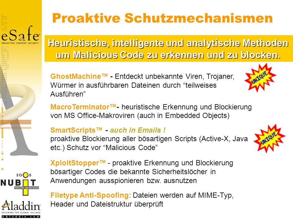 GhostMachine - Entdeckt unbekannte Viren, Trojaner, Würmer in ausführbaren Dateinen durch teilweises Ausführen MacroTerminator- heuristische Erkennung und Blockierung von MS Office-Makroviren (auch in Embedded Objects) SmartScripts - auch in Emails .