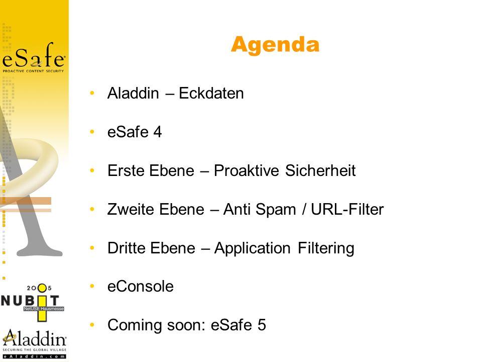 Agenda Aladdin – Eckdaten eSafe 4 Erste Ebene – Proaktive Sicherheit Zweite Ebene – Anti Spam / URL-Filter Dritte Ebene – Application Filtering eConsole Coming soon: eSafe 5