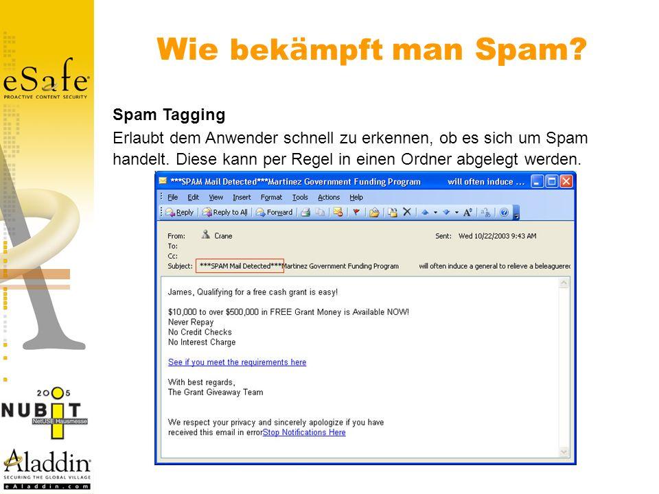 Spam Tagging Erlaubt dem Anwender schnell zu erkennen, ob es sich um Spam handelt.