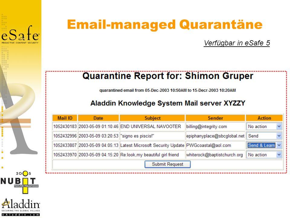 Email-managed Quarantäne Verfügbar in eSafe 5