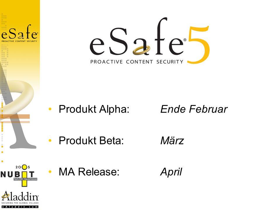 Produkt Alpha:Ende Februar Produkt Beta:März MA Release:April