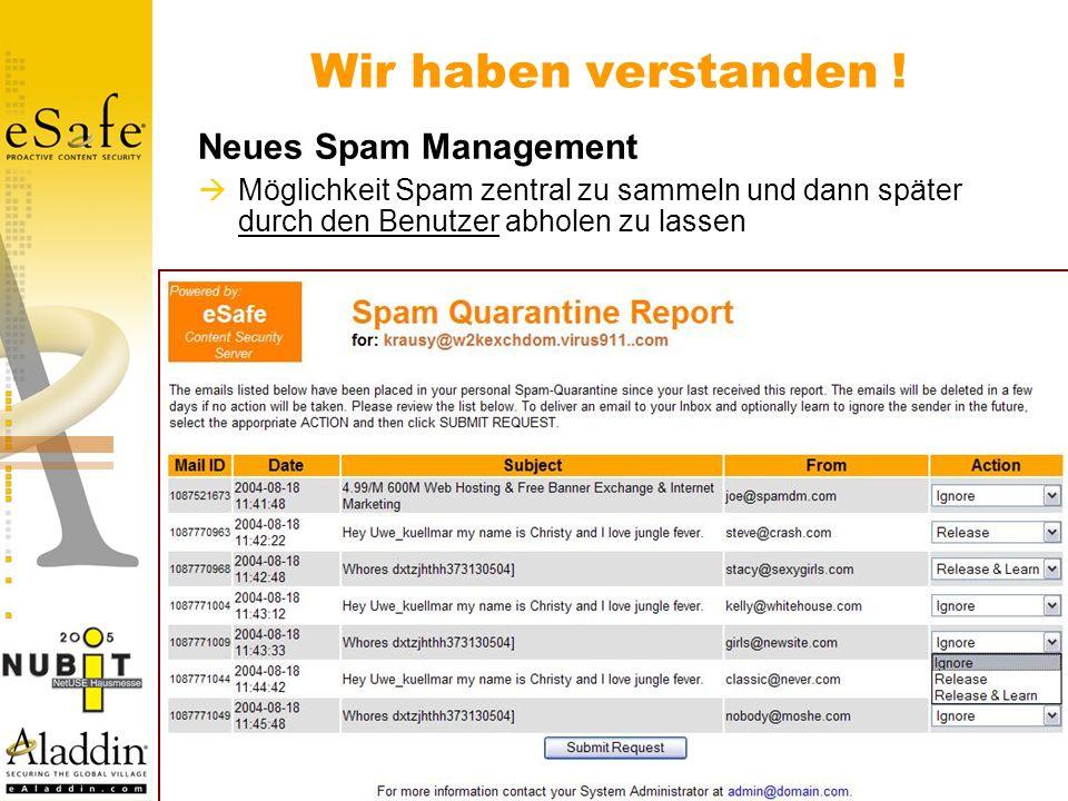 Neues Spam Management Möglichkeit Spam zentral zu sammeln und dann später durch den Benutzer abholen zu lassen Wir haben verstanden !