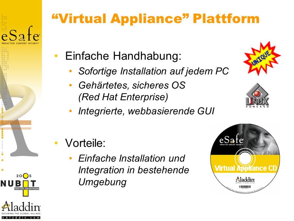 Virtual Appliance Plattform Einfache Handhabung: Sofortige Installation auf jedem PC Gehärtetes, sicheres OS (Red Hat Enterprise) Integrierte, webbasierende GUI Vorteile: Einfache Installation und Integration in bestehende Umgebung