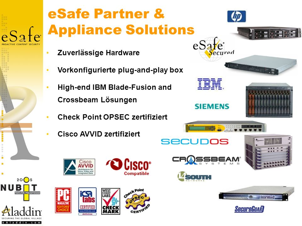 eSafe Partner & Appliance Solutions Zuverlässige Hardware Vorkonfigurierte plug-and-play box High-end IBM Blade-Fusion and Crossbeam Lösungen Check Po