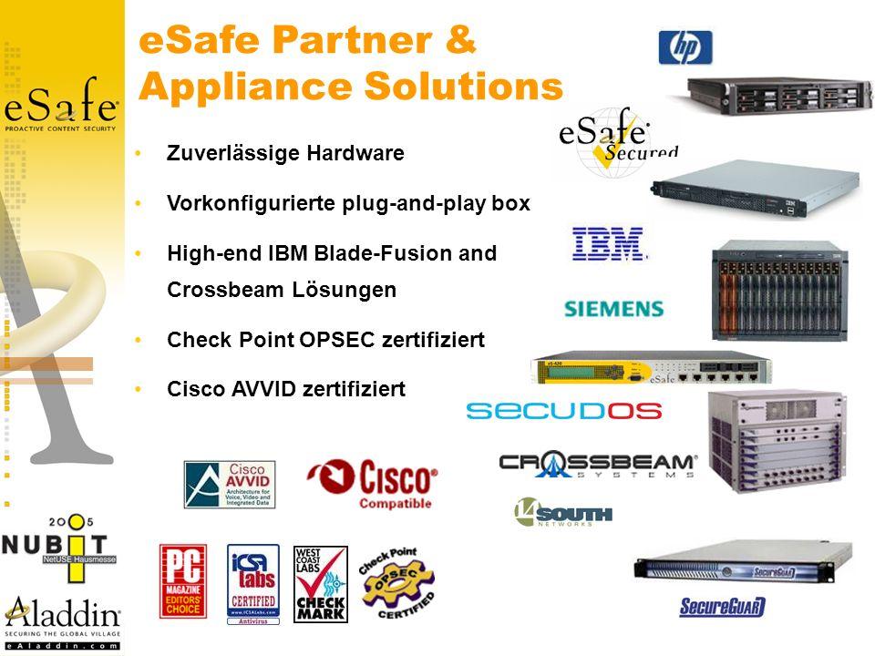 eSafe Partner & Appliance Solutions Zuverlässige Hardware Vorkonfigurierte plug-and-play box High-end IBM Blade-Fusion and Crossbeam Lösungen Check Point OPSEC zertifiziert Cisco AVVID zertifiziert
