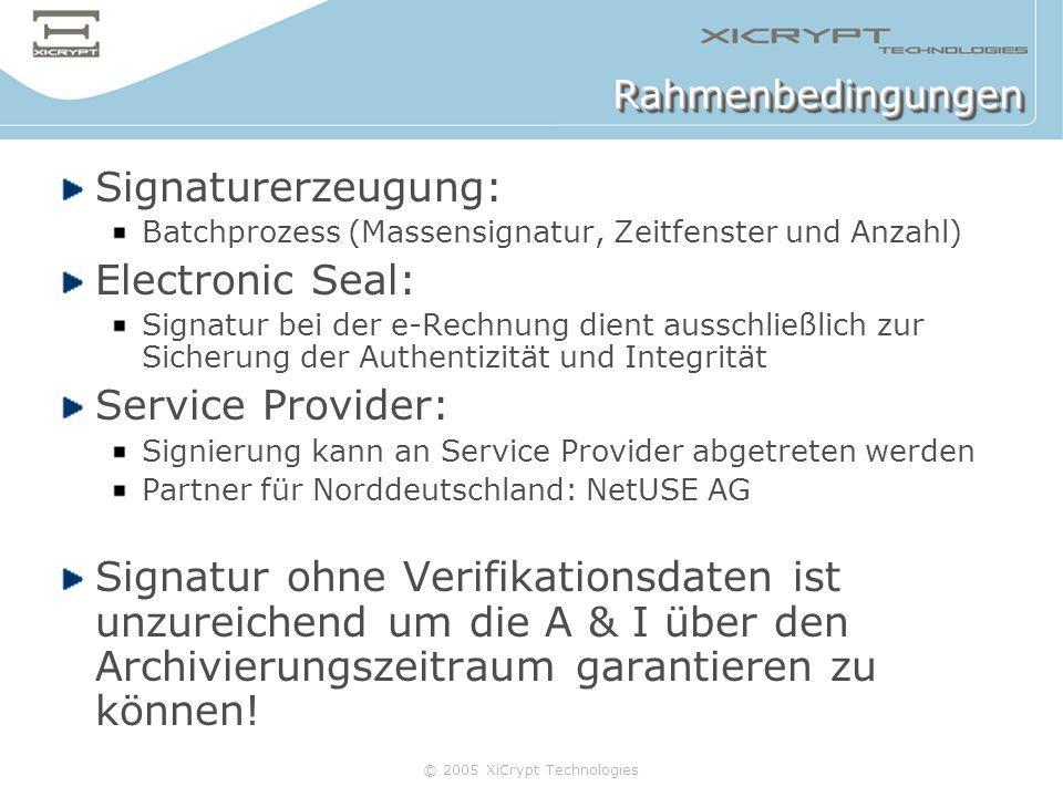 © 2005 XiCrypt Technologies RahmenbedingungenRahmenbedingungen Signaturerzeugung: Batchprozess (Massensignatur, Zeitfenster und Anzahl) Electronic Sea
