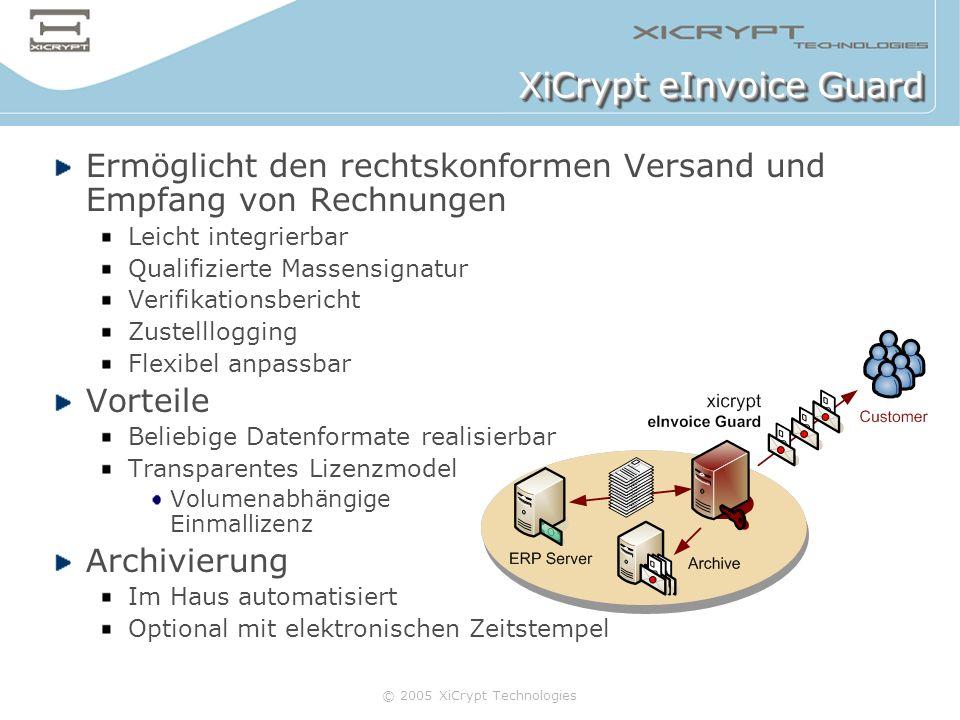 © 2005 XiCrypt Technologies XiCrypt eInvoice Guard Ermöglicht den rechtskonformen Versand und Empfang von Rechnungen Leicht integrierbar Qualifizierte