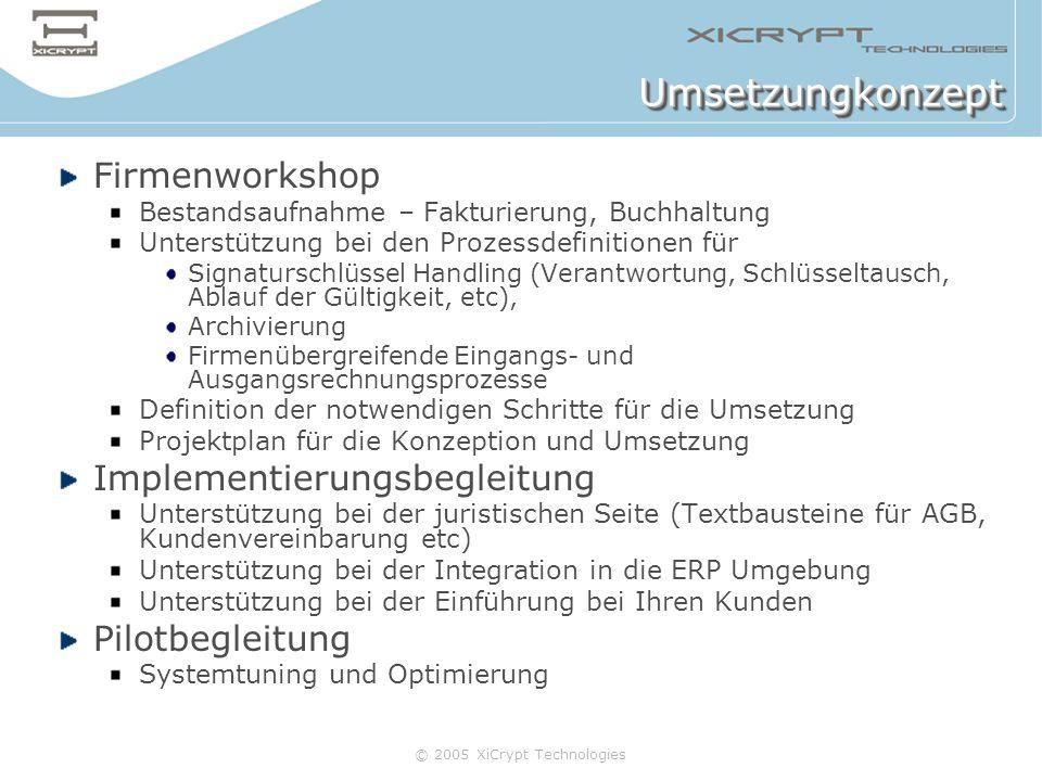 © 2005 XiCrypt Technologies UmsetzungkonzeptUmsetzungkonzept Firmenworkshop Bestandsaufnahme – Fakturierung, Buchhaltung Unterstützung bei den Prozess
