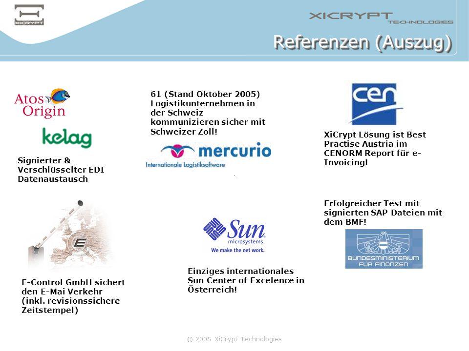 © 2005 XiCrypt Technologies Referenzen (Auszug) Signierter & Verschlüsselter EDI Datenaustausch 61 (Stand Oktober 2005) Logistikunternehmen in der Sch