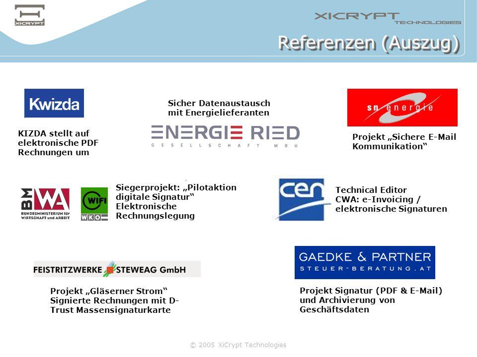 © 2005 XiCrypt Technologies Referenzen (Auszug) KIZDA stellt auf elektronische PDF Rechnungen um Projekt Sichere E-Mail Kommunikation Projekt Gläserne