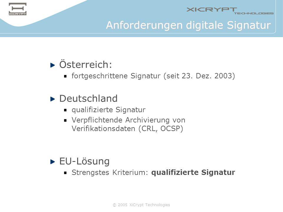 © 2005 XiCrypt Technologies Österreich: fortgeschrittene Signatur (seit 23. Dez. 2003) Deutschland qualifizierte Signatur Verpflichtende Archivierung