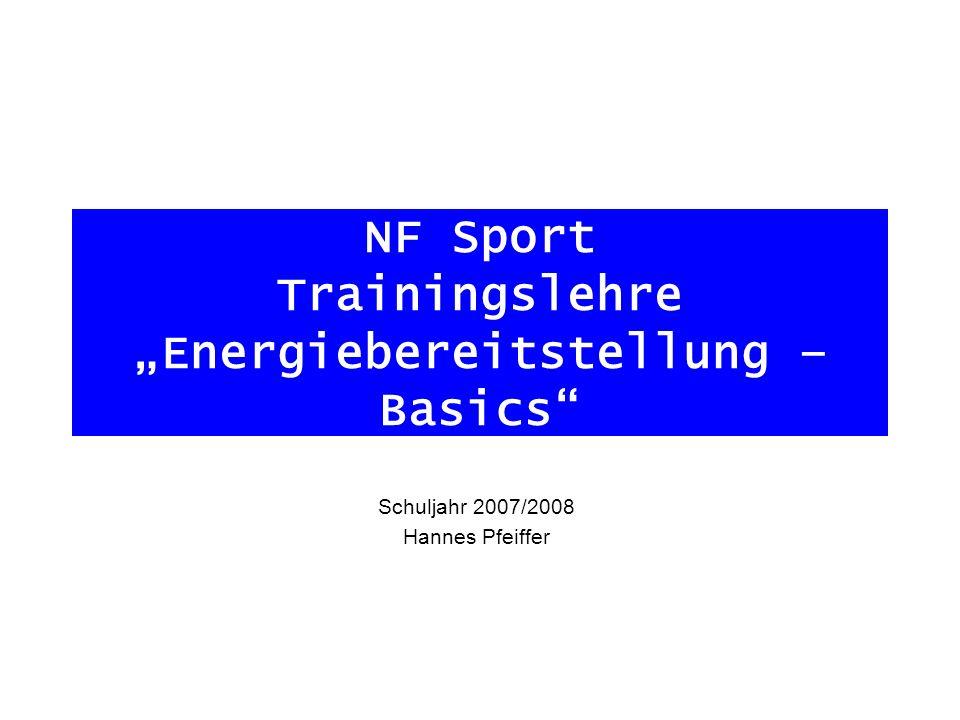 NF Sport Trainingslehre Energiebereitstellung – Basics Schuljahr 2007/2008 Hannes Pfeiffer