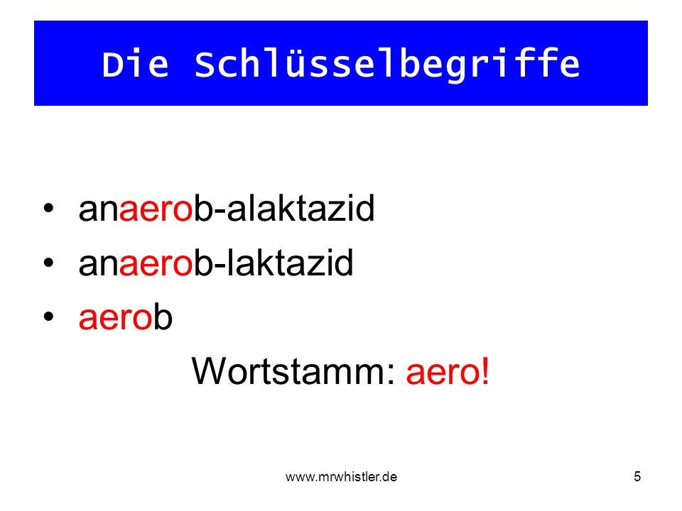 www.mrwhistler.de5 Die Schlüsselbegriffe anaerob-alaktazid anaerob-laktazid aerob Wortstamm: aero!