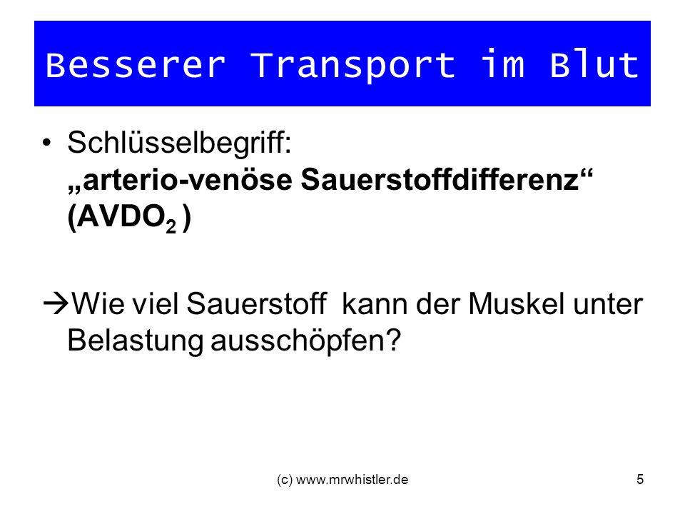 (c) www.mrwhistler.de5 Besserer Transport im Blut Schlüsselbegriff: arterio-venöse Sauerstoffdifferenz (AVDO 2 ) Wie viel Sauerstoff kann der Muskel u