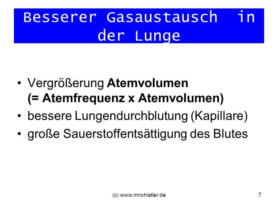 (c) www.mrwhistler.de7 Besserer Gasaustausch in der Lunge Vergrößerung Atemvolumen (= Atemfrequenz x Atemvolumen) bessere Lungendurchblutung (Kapillar