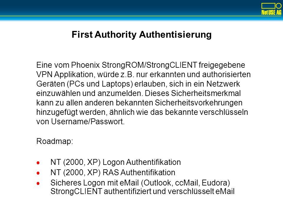 Phoenix StrongROM eingebettete Technologie Im ROM Chip des Client PCs: –Kryptographische Engine –3 Security Keys Sind auf allen Maschinen identisch. 1