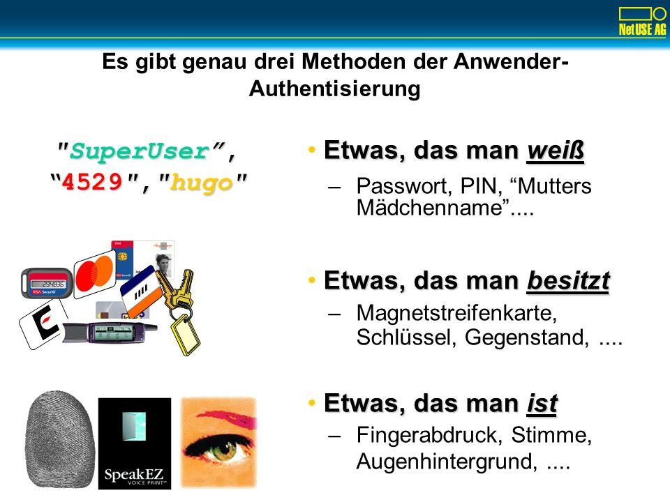 Es gibt genau drei Methoden der Anwender- Authentisierung SuperUser, 4529 , hugo 4529 , hugo Etwas, das man weiß –Passwort, PIN, Mutters Mädchenname....