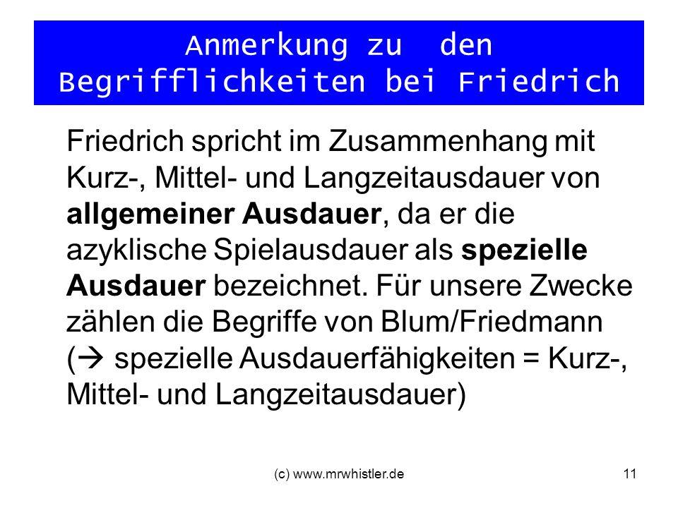 (c) www.mrwhistler.de11 Anmerkung zu den Begrifflichkeiten bei Friedrich Friedrich spricht im Zusammenhang mit Kurz-, Mittel- und Langzeitausdauer von