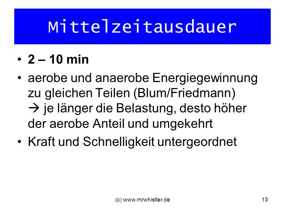 (c) www.mrwhistler.de13 Mittelzeitausdauer 2 – 10 min aerobe und anaerobe Energiegewinnung zu gleichen Teilen (Blum/Friedmann) je länger die Belastung