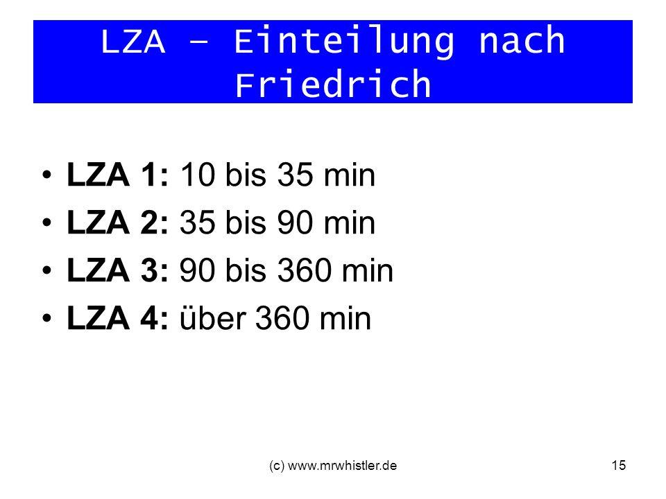 (c) www.mrwhistler.de15 LZA – Einteilung nach Friedrich LZA 1: 10 bis 35 min LZA 2: 35 bis 90 min LZA 3: 90 bis 360 min LZA 4: über 360 min