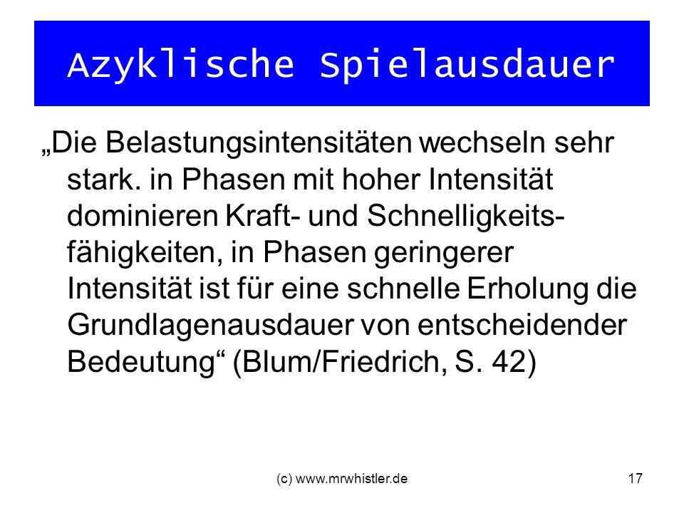 (c) www.mrwhistler.de17 Azyklische Spielausdauer Die Belastungsintensitäten wechseln sehr stark. in Phasen mit hoher Intensität dominieren Kraft- und