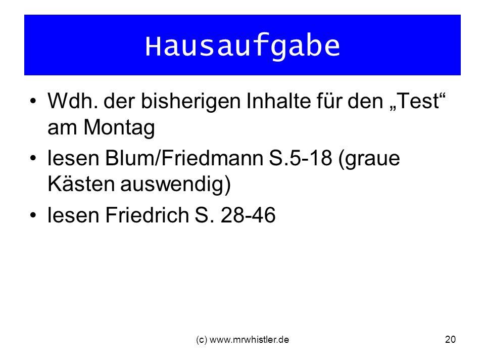 (c) www.mrwhistler.de20 Hausaufgabe Wdh. der bisherigen Inhalte für den Test am Montag lesen Blum/Friedmann S.5-18 (graue Kästen auswendig) lesen Frie