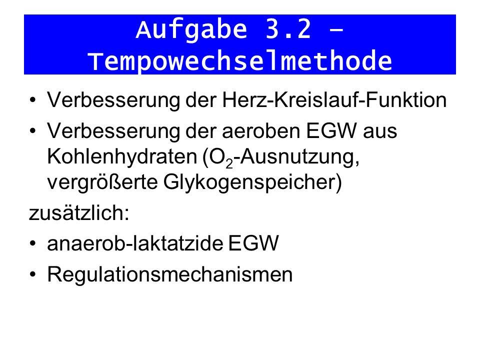 Aufgabe 3.2 – Tempowechselmethode Verbesserung der Herz-Kreislauf-Funktion Verbesserung der aeroben EGW aus Kohlenhydraten (O 2 -Ausnutzung, vergrößer