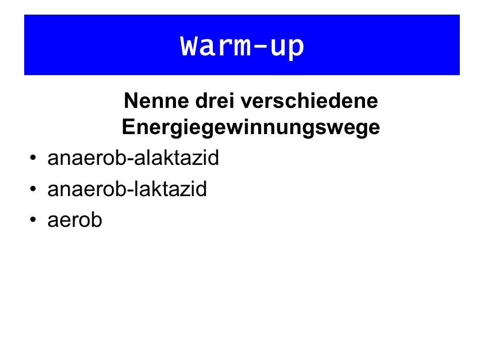 Warm-up Nenne verschiedene Ausdauertrainingsmethoden kontinuierliche Dauermethoden (extensiv/intensiv) Tempowechselmethode Fahrtspiel Intervallmethoden (extensiv/intensiv) Wiederholungsmethode