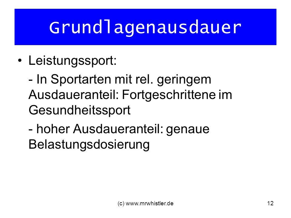 (c) www.mrwhistler.de12 Grundlagenausdauer Leistungssport: - In Sportarten mit rel. geringem Ausdaueranteil: Fortgeschrittene im Gesundheitssport - ho