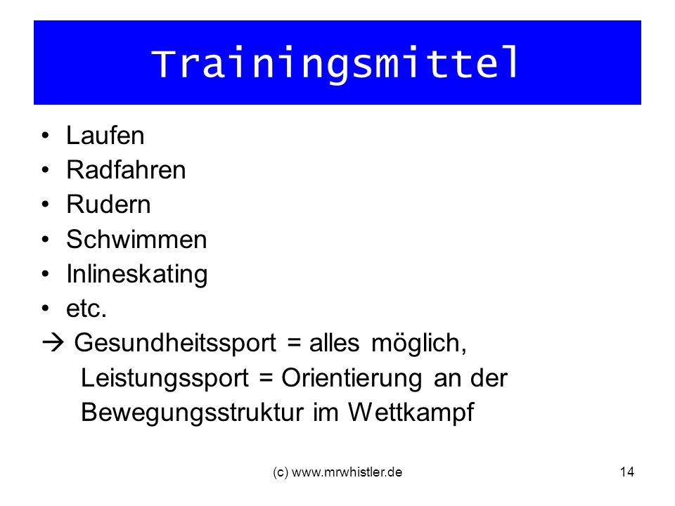 (c) www.mrwhistler.de14 Trainingsmittel Laufen Radfahren Rudern Schwimmen Inlineskating etc. Gesundheitssport = alles möglich, Leistungssport = Orient