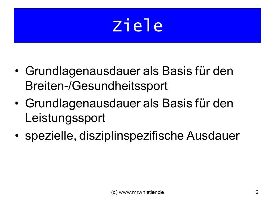 (c) www.mrwhistler.de2 Ziele Grundlagenausdauer als Basis für den Breiten-/Gesundheitssport Grundlagenausdauer als Basis für den Leistungssport spezie