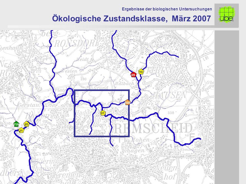 Ökologische Zustandsklasse, März 2007 Ergebnisse der biologischen Untersuchungen 07 10A 21 20 09 10 21A