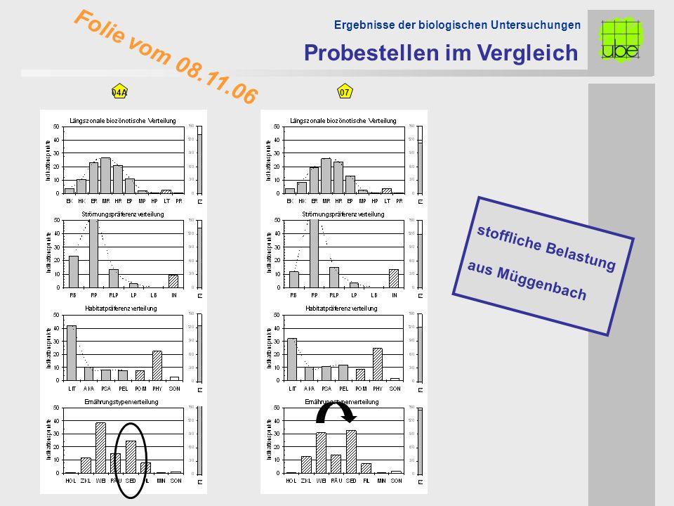 04A Probestellen im Vergleich Ergebnisse der biologischen Untersuchungen 07 stoffliche Belastung aus Müggenbach Folie vom 08.11.06