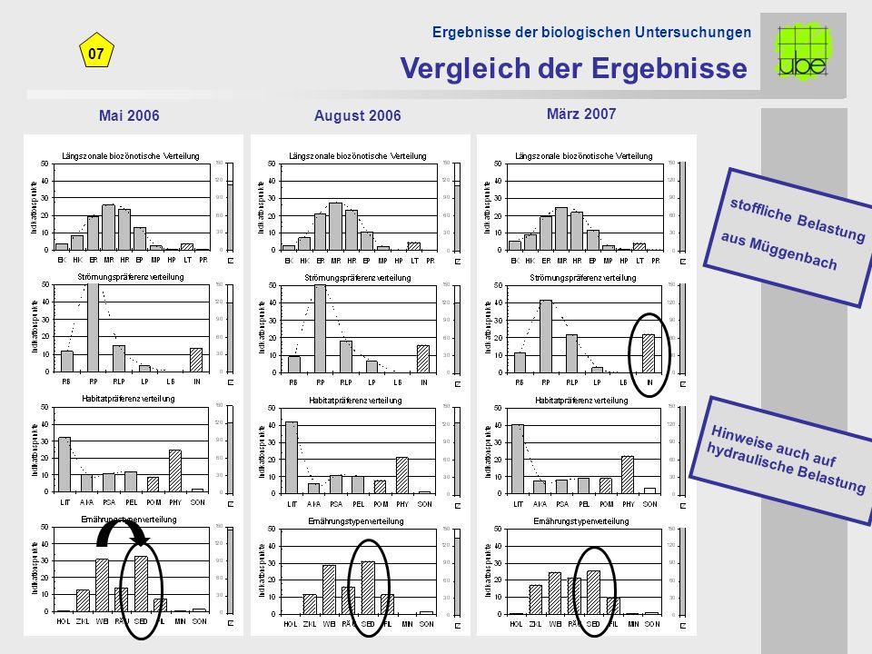 07 Mai 2006August 2006 Vergleich der Ergebnisse Ergebnisse der biologischen Untersuchungen März 2007 Hinweise auch auf hydraulische Belastung stoffliche Belastung aus Müggenbach