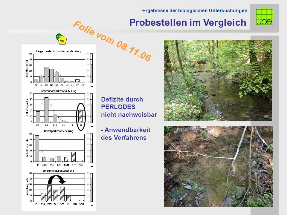 Folie vom 08.11.06 10 Ergebnisse der biologischen Untersuchungen Defizite durch PERLODES nicht nachweisbar - Anwendbarkeit des Verfahrens Probestellen im Vergleich 10