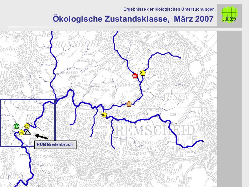 Ökologische Zustandsklasse, März 2007 Ergebnisse der biologischen Untersuchungen 20 09 10 10A 21 21A 07 RÜB Breitenbruch