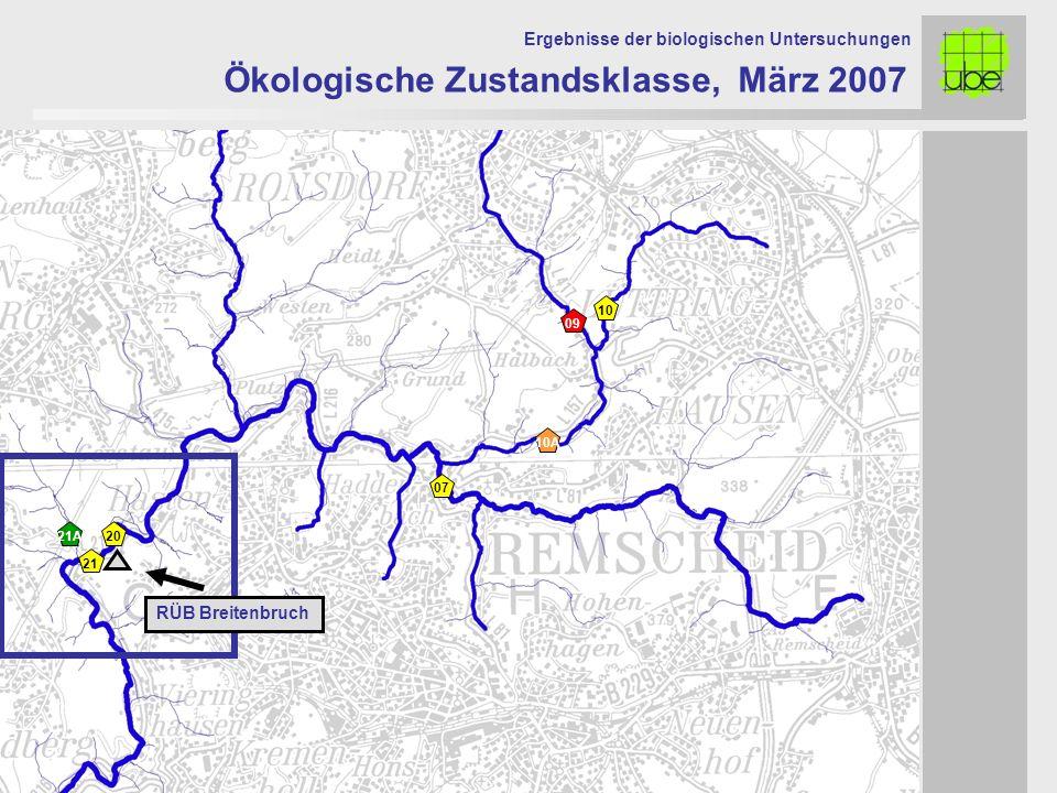 Ökologische Zustandsklasse, März 2007 Ergebnisse der biologischen Untersuchungen 21 09 10 10A 2021A 07 RÜB Breitenbruch